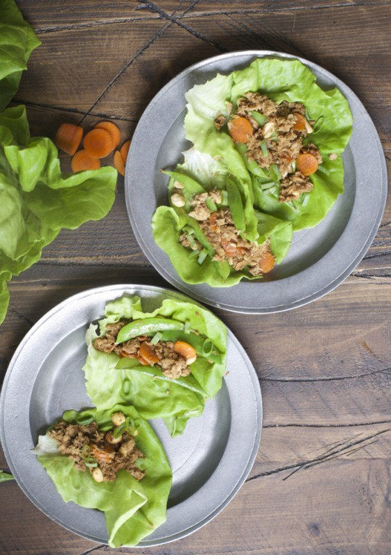 overhead view of two plates with asian lettuce wraps