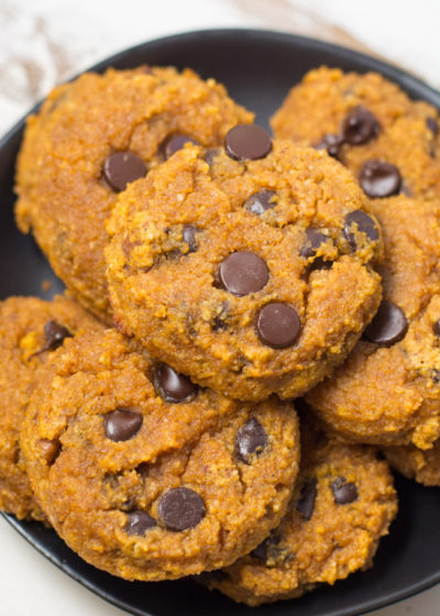 Soft and Chewy Chocolate Chip Pumpkin Cookies are the perfect gluten free, grain free treat! Each low carb cookie contains about 1 net carb each making it a great keto-friendly snack!