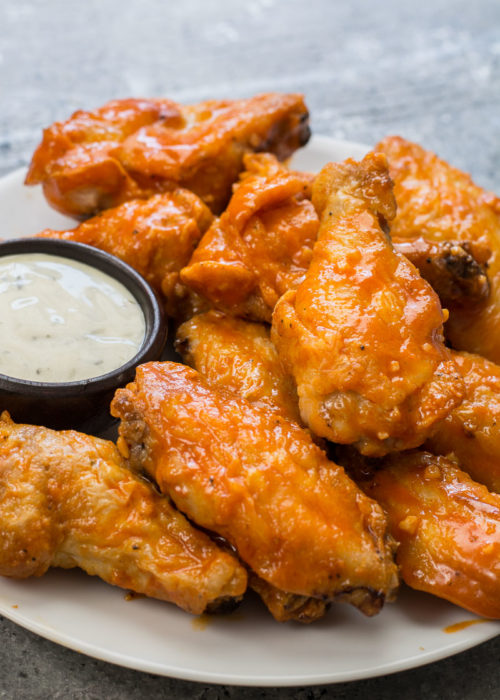 These Crispy Baked Buffalo Wings are lightened up and made keto-friendly!
