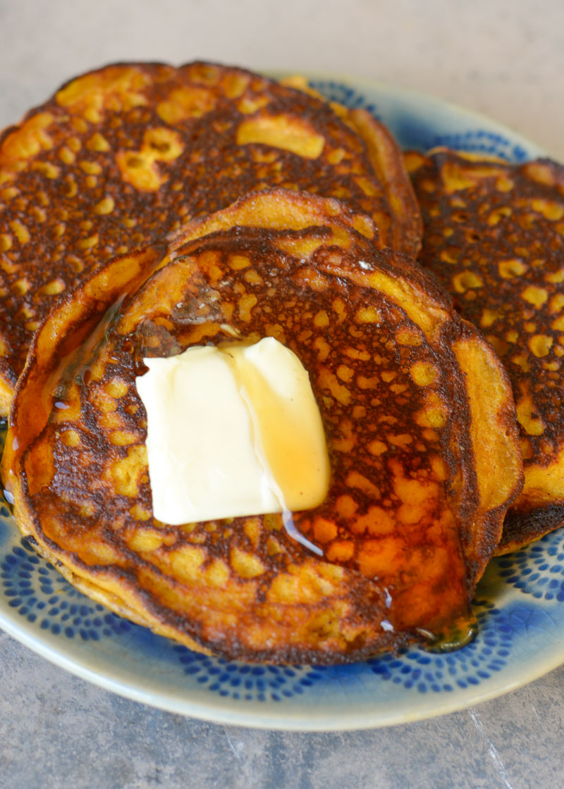 Ultra fluffy Keto Pumpkin Spice Pancakes are perfect for a decadent Fall breakfast! Each pancake contains only 2.5 net carbs!