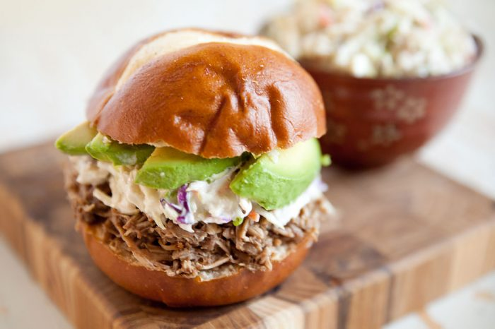 Pulled Pork Bleu Cheese Slaw Sliders