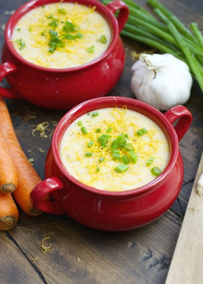 Lightened up Creamy Potato Soup! Packed with veggies!