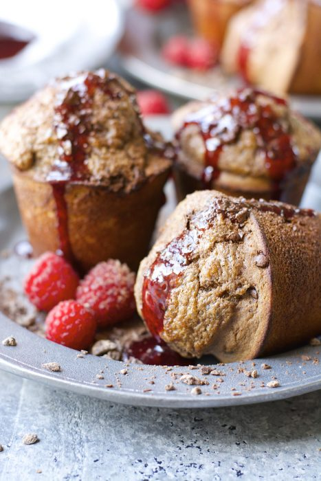 Warm and fluffy Dark Chocolate Popovers with fresh Raspberry Syrup!
