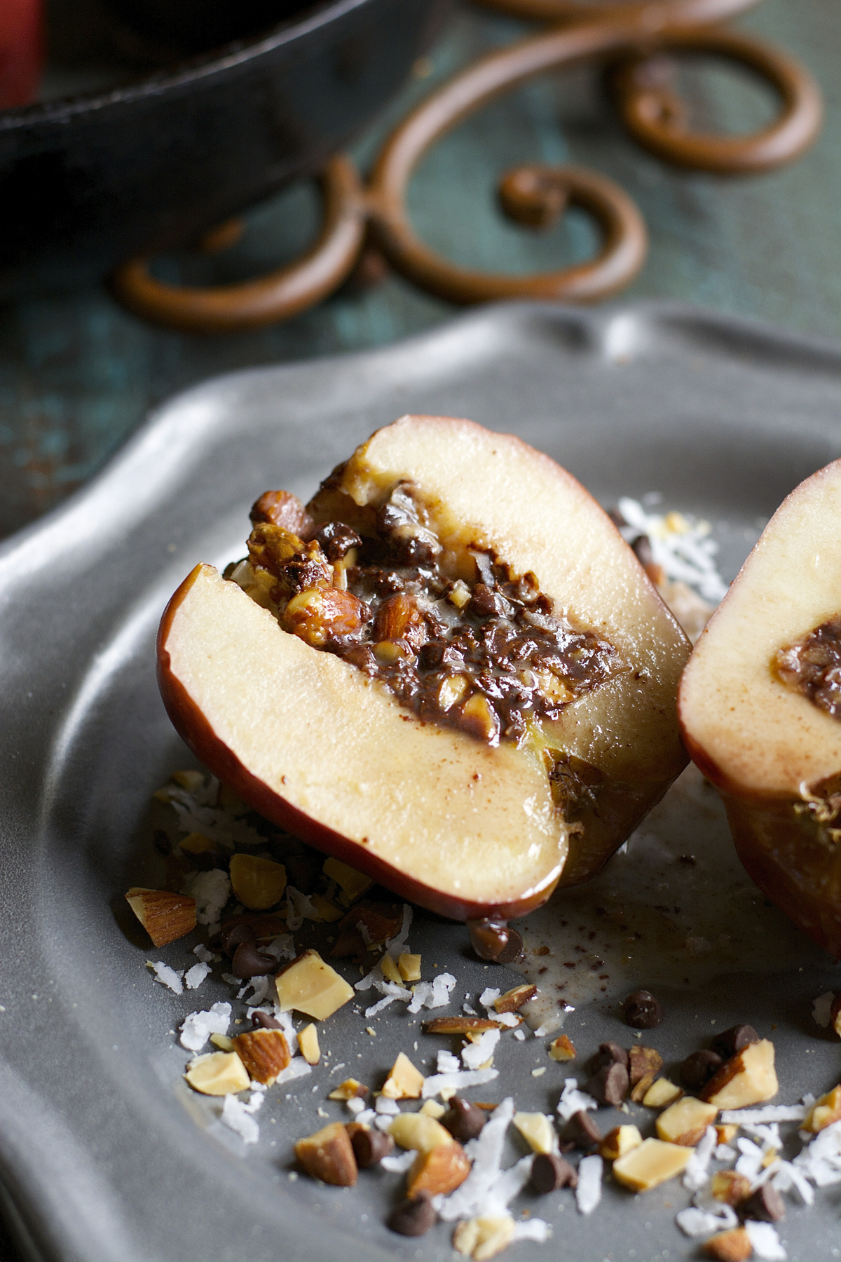 Chocolate Almond Stuffed Baked Apples are packed with coconut, lightly salted almonds and rich dark chocolate!