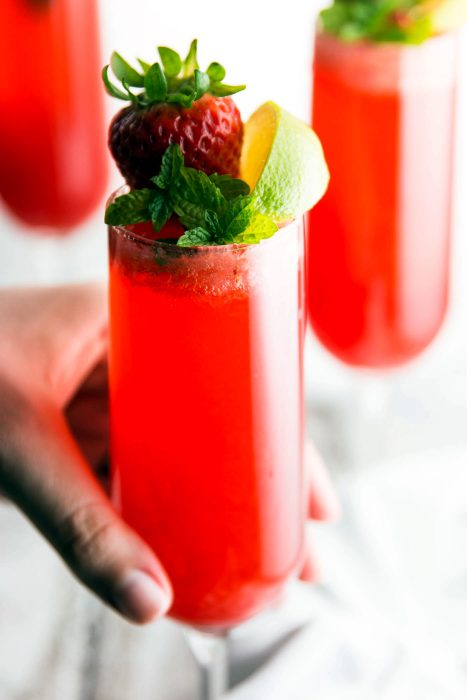 Three Ingredient Strawberry Lime Champagne Cocktail