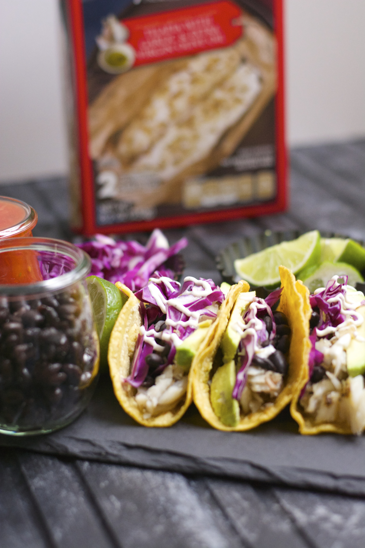 These light and healthy Avocado and Black Bean Fish Tacos with Jalapeño Ranch Sauce are packed with flavor and ready in just 20 minutes! This low carb meal is gluten free and perfect for busy weeknights!