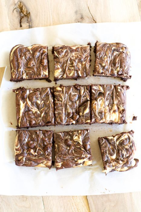 These easy, gluten free Double Chocolate Peanut Butter Cheesecake Brownies are loaded with dark chocolate flavor, creamy cheesecake and rich peanut butter!