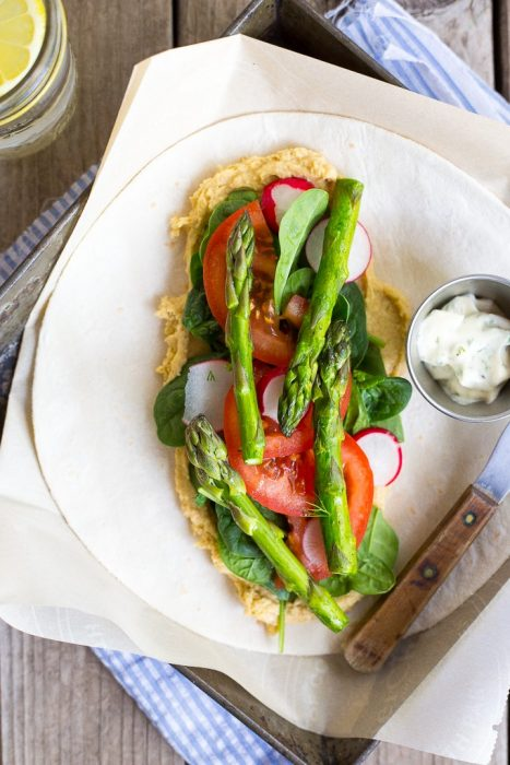 Hummus Wraps with Spring Vegetables and Herbed Mayo