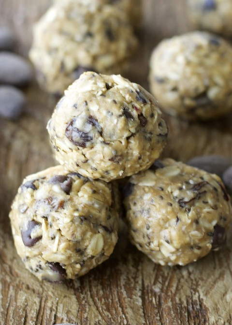 Creamy almond butter, almonds, fruit and seeds make these energy bites the perfect healthy snack!