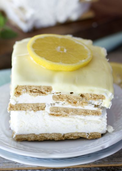 This quick and easy Lemon Icebox Cake has just six ingredients! This no bake, gluten free treat is the perfect Summer dessert!