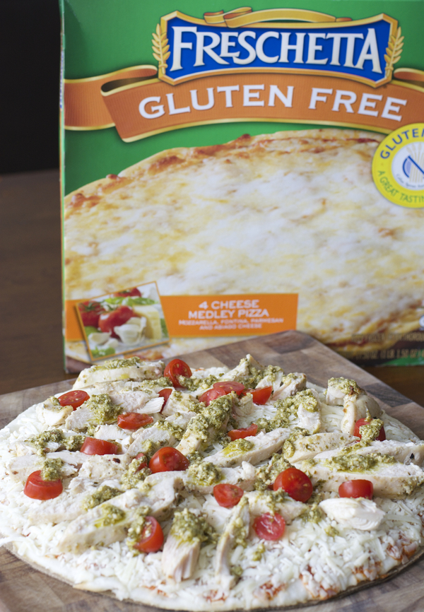 This easy four ingredient gluten free Grilled Pesto Chicken Pizza will make weeknight dinners a breeze!