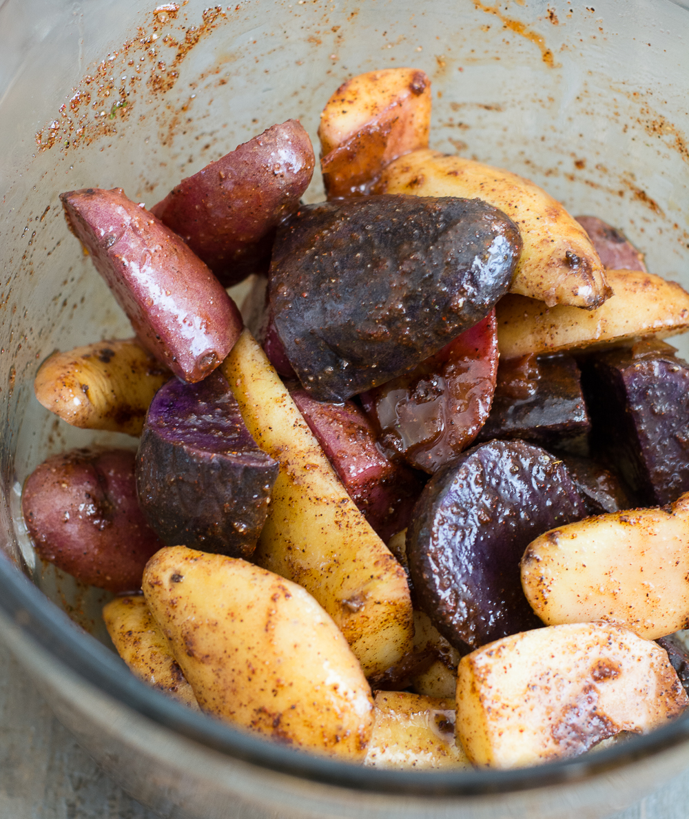 Quick and easy Pan Roasted Chipotle Fingerling Potatoes! This is the perfect sweet and spicy side dish to mix up your dinner routine!