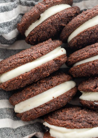 These Chocolate Peppermint Whoopie Pies are a must for your holiday celebrations! Classic whoopie pies get a fun, festive, low carb twist with a creamy peppermint filling!