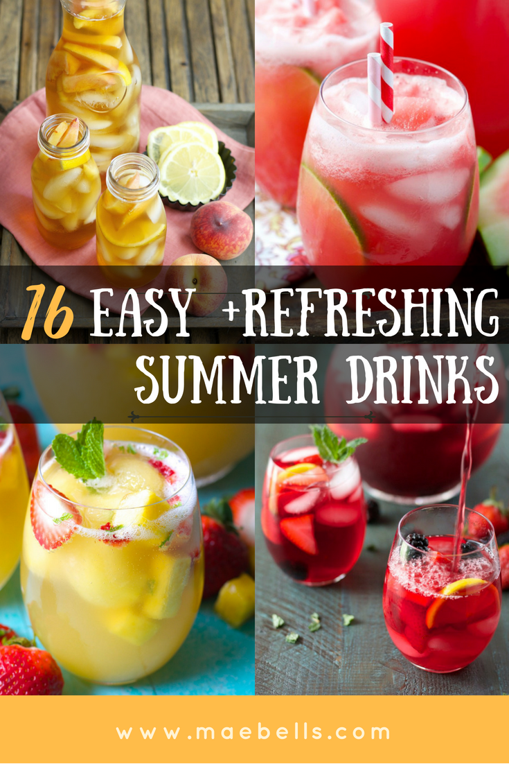 16 Easy and Refreshing Summer Drinks You Can't Live Without!Everything from healthy, fruit packed smoothies, fizzy punches, and boozy drinks!