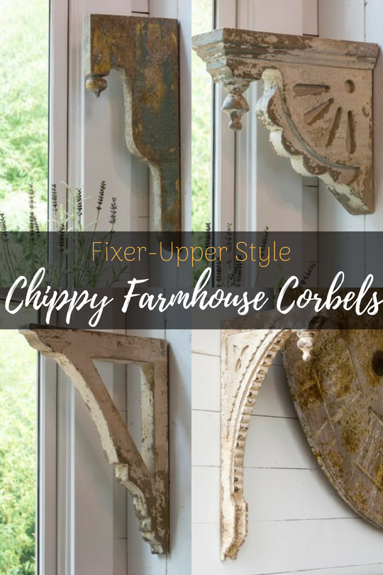 Want to add that Fixer-Upper Style to your home? These amazing Chippy Farmhouse Corbels are a must have! Make DIY Corbel Tables, or shelves! #fixerupper #corbel