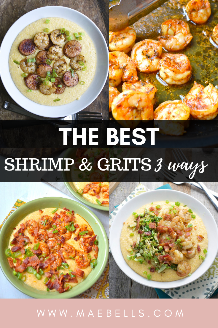 The Best Shrimp and Grits 3 ways! Ultra creamy, cheesy grits topped with tender shrimp, andouillesausage, crispy brussels sprouts or salty bacon! These three recipes are crowd pleasers!