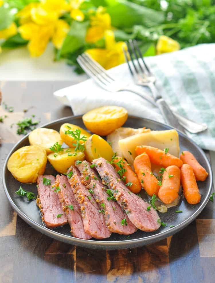 Celebrate St. Patrick's Day or cozy up on a cold winter evening with a flavorful meal of Corned Beef and Cabbage -- with just 10 minutes of prep! Irish Recipes | St Patrick's Day Party | Beef Recipes | Slow Cooker Recipes | Easy Dinner Recipes