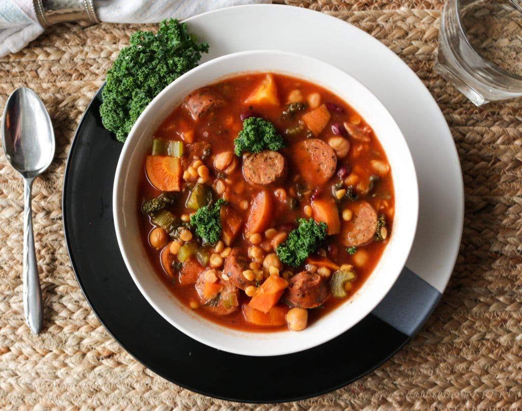 Lentil Sausage Soup Slow Cooker Soup