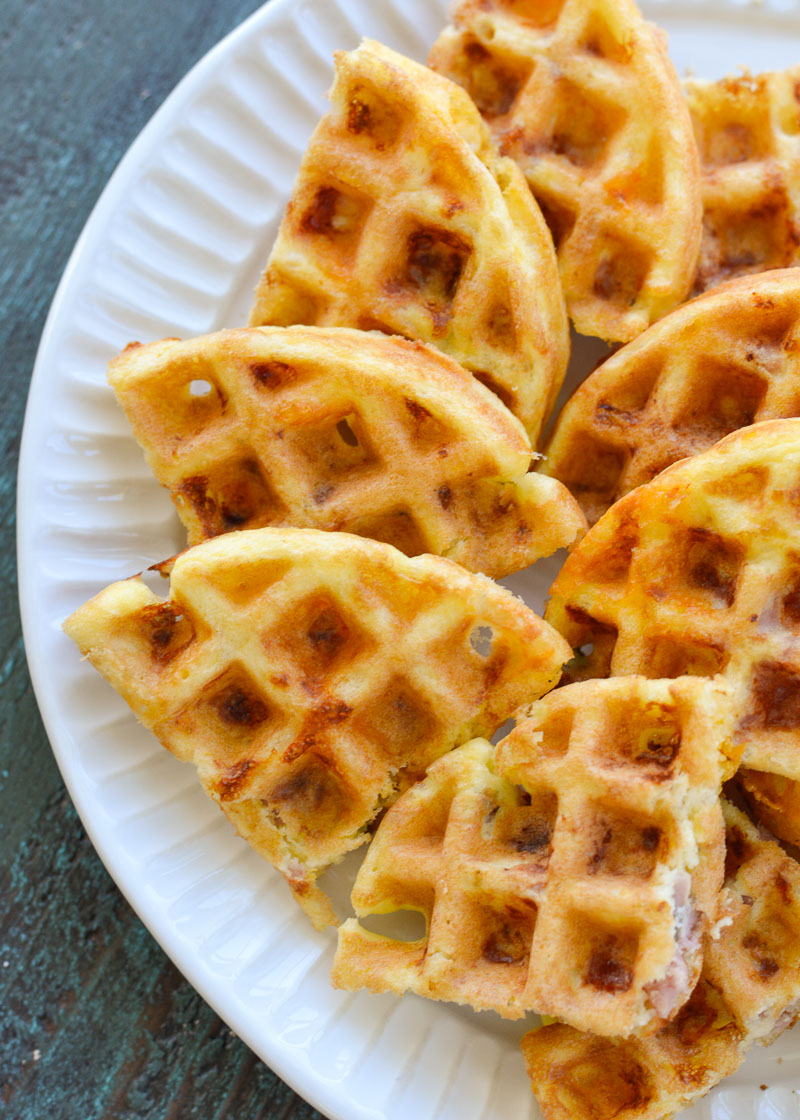 These Ham and Cheese Chaffles require just 5 ingredients and are about 1 net carb each! This is the perfect easy keto breakfast or snack recipe!