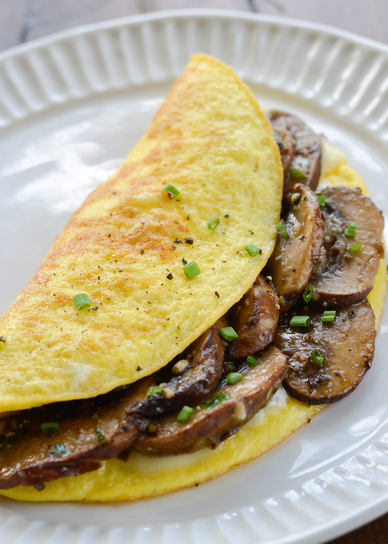 This Mushrooms Swiss Omelette is the perfect quick and easy breakfast that is naturally low carb and gluten free.