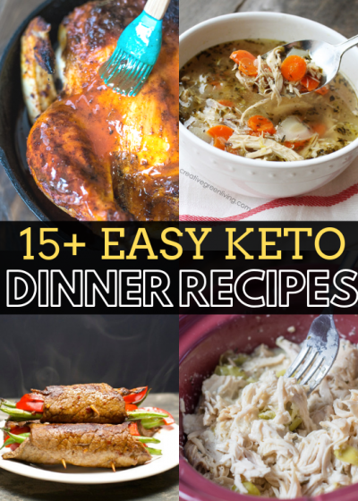 I've found 15+ easy keto dinner recipes to try when you need a little variety! Everything from slow cooker, Asian, salads and soup! All recipes are under 8.5 net carbs, though most are in the 2-6 net carb range! Which one are you going to try first?