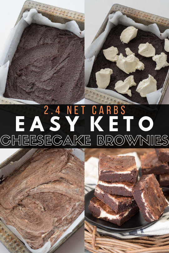 photo collage showing steps for making keto fudge brownies