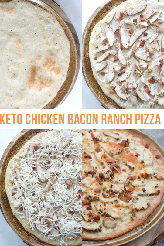 photo collage showing steps to making a keto friendly pizza