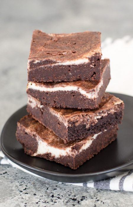 Fudgy Keto Cheesecake Brownies with a thick cheesecake swirl! An easy Keto dessert!