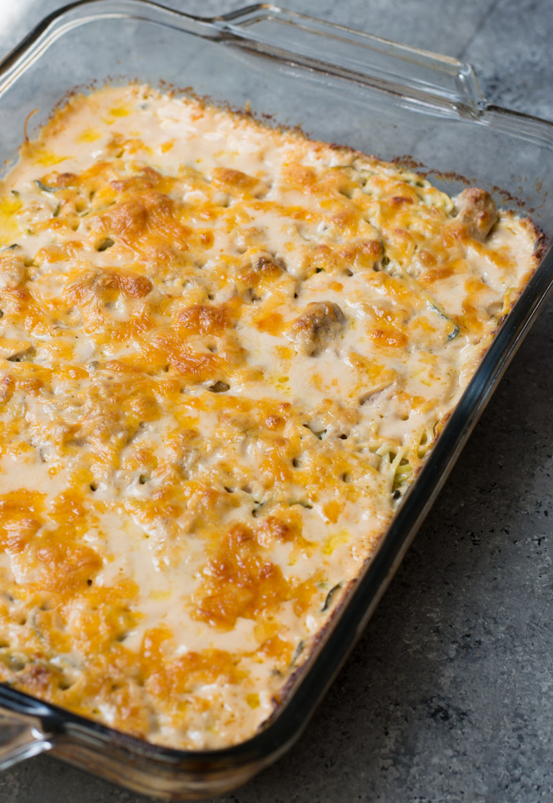keto tuna casserole in a large glass baking dish