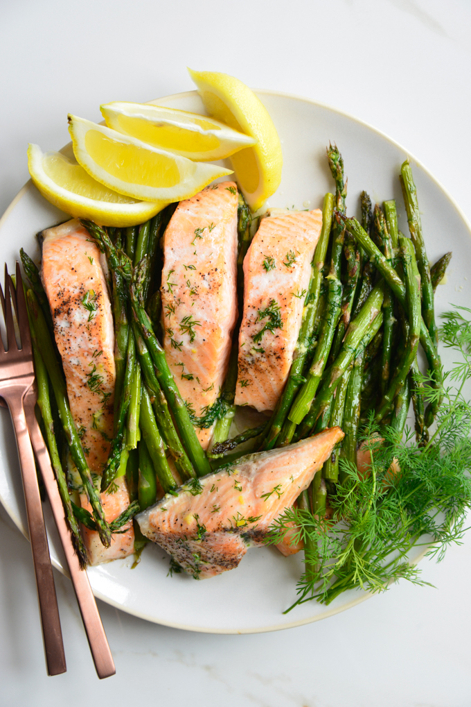 Butter Dill Baked Salmon with Roasted Asparagus