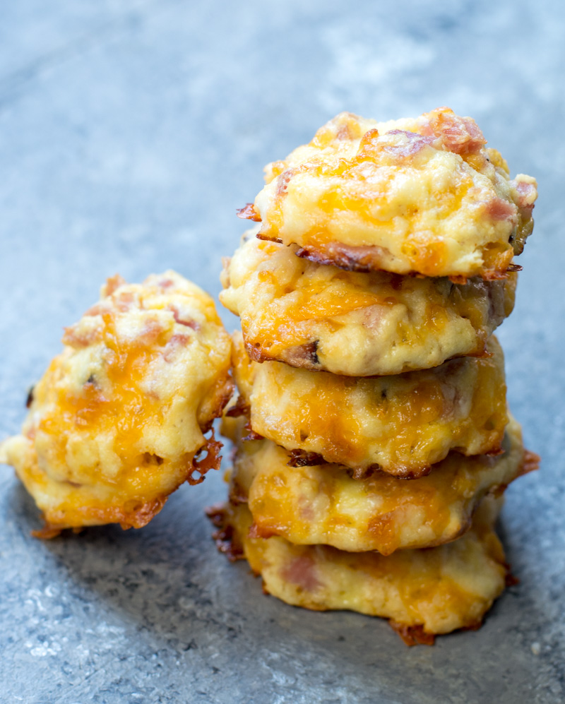 A stack of keto ham and cheese bites.