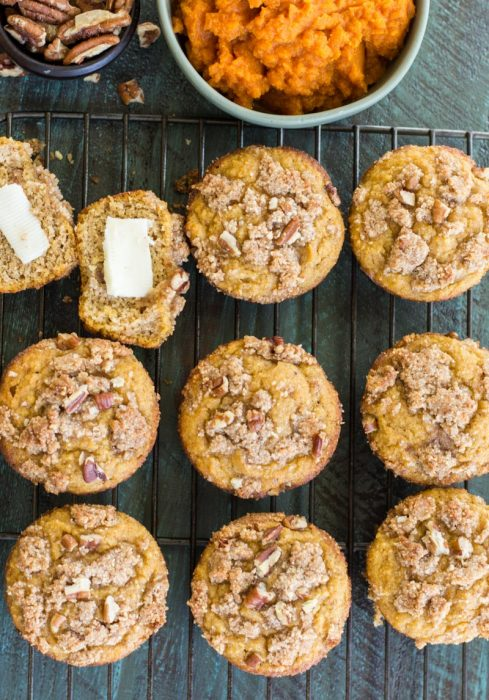 These Keto Pumpkin Muffins are packed with pumpkin spice flavor and topped with a pecan crumble topping! At just 5 net carbs this is a low carb treat you will enjoy all fall long! #keto