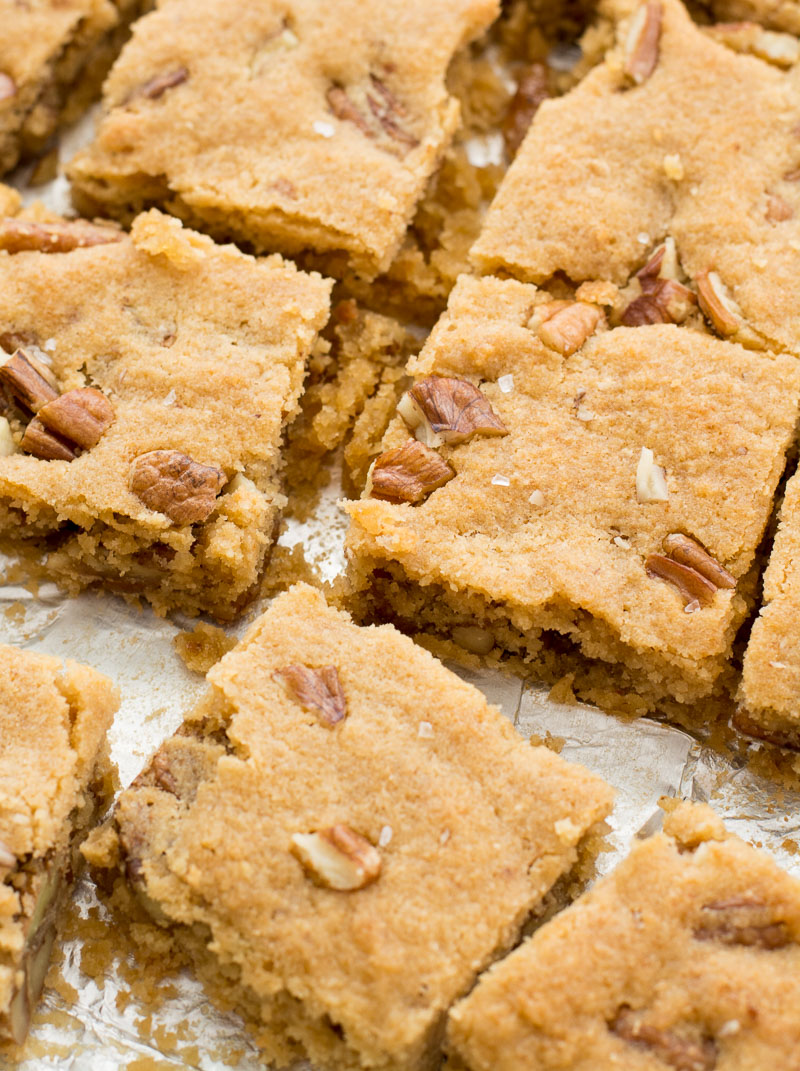keto blondies that have been cut into squares.