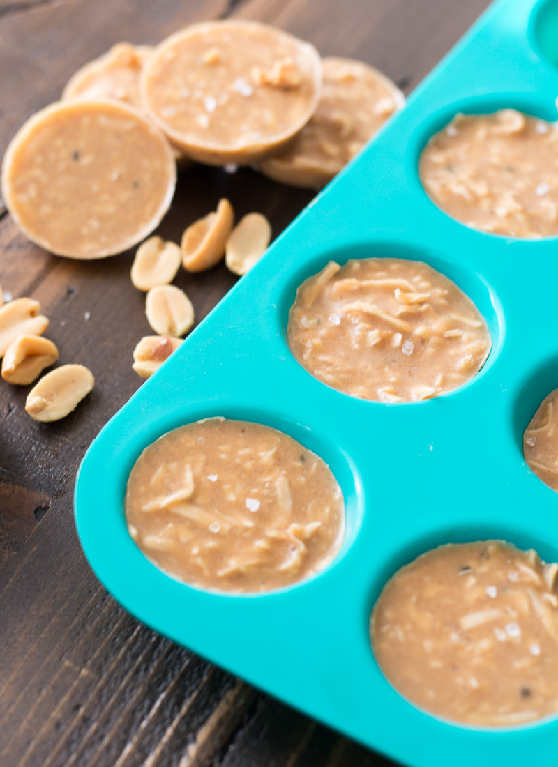 no bake peanut butter cookies in a silicone muffin tin