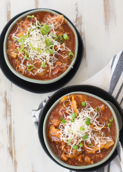 This Slow Cooker Cabbage Roll Soup is the perfect easy keto soup! At just under 6 net carbs and packed with meat and vegetables this is a low carb soup you'll enjoy all season long! #keto