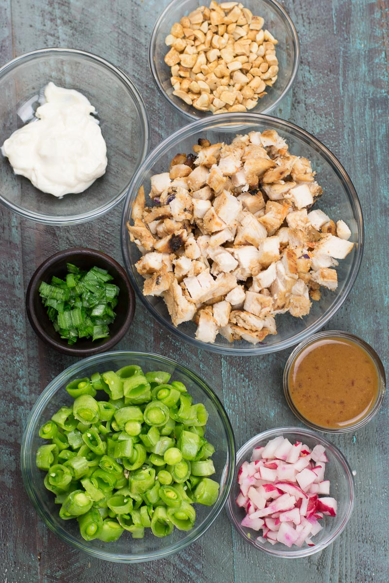This easy Chopped Thai Chicken Salad is loaded with chopped chicken, crisp vegetables and sweet and spicy peanut sauce! At 3 net carbs per serving this is the perfect easy low carb lunch!