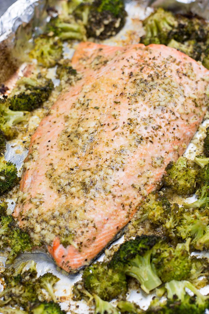 Keto salmon and broccoli on a sheet pan.