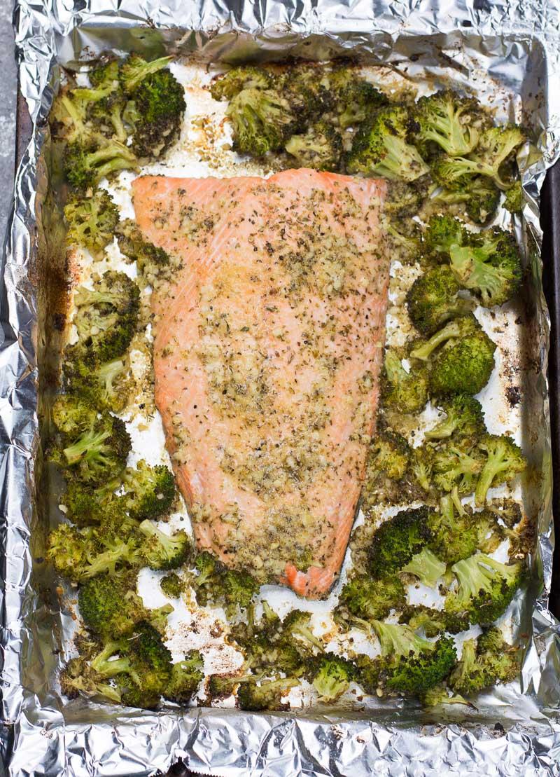 top view of Keto salmon and broccoli on a sheet pan.