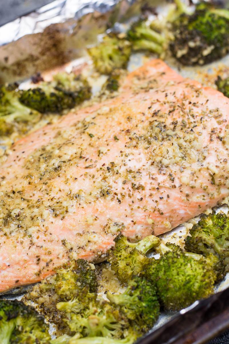 salmon sheet pan dinner with broccoli