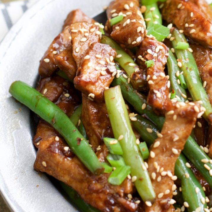 One Pan Keto Sesame Pork and Green Beans has just 4.5 net carbs per serving and is loaded with tangy Asian flavor!