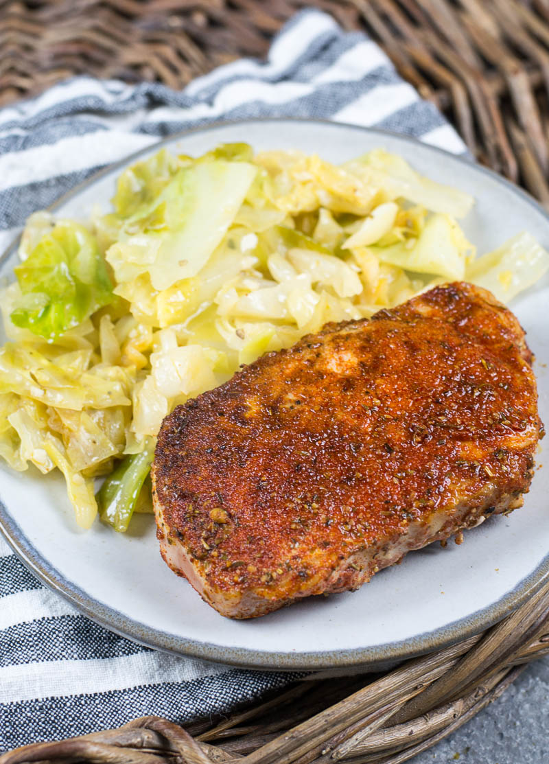 This easy Cajun Pork Chops and Fried Cabbage dish is the easiest one pan, 30 minute meal! At just 3.7 net carbs this is a low carb, keto approved dinner you will love!