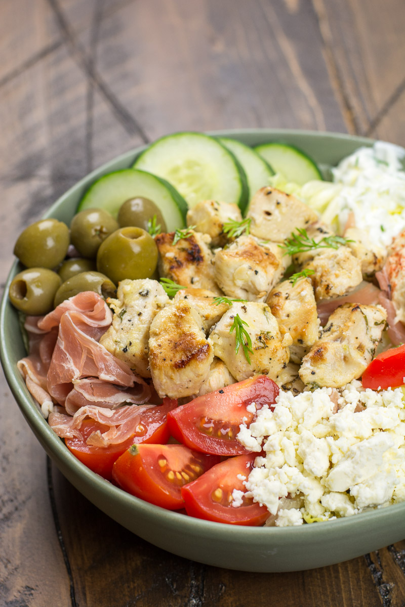 Try these Greek Chicken Power Bowls perfect for a low carb dinner or easy, healthy meal prep!