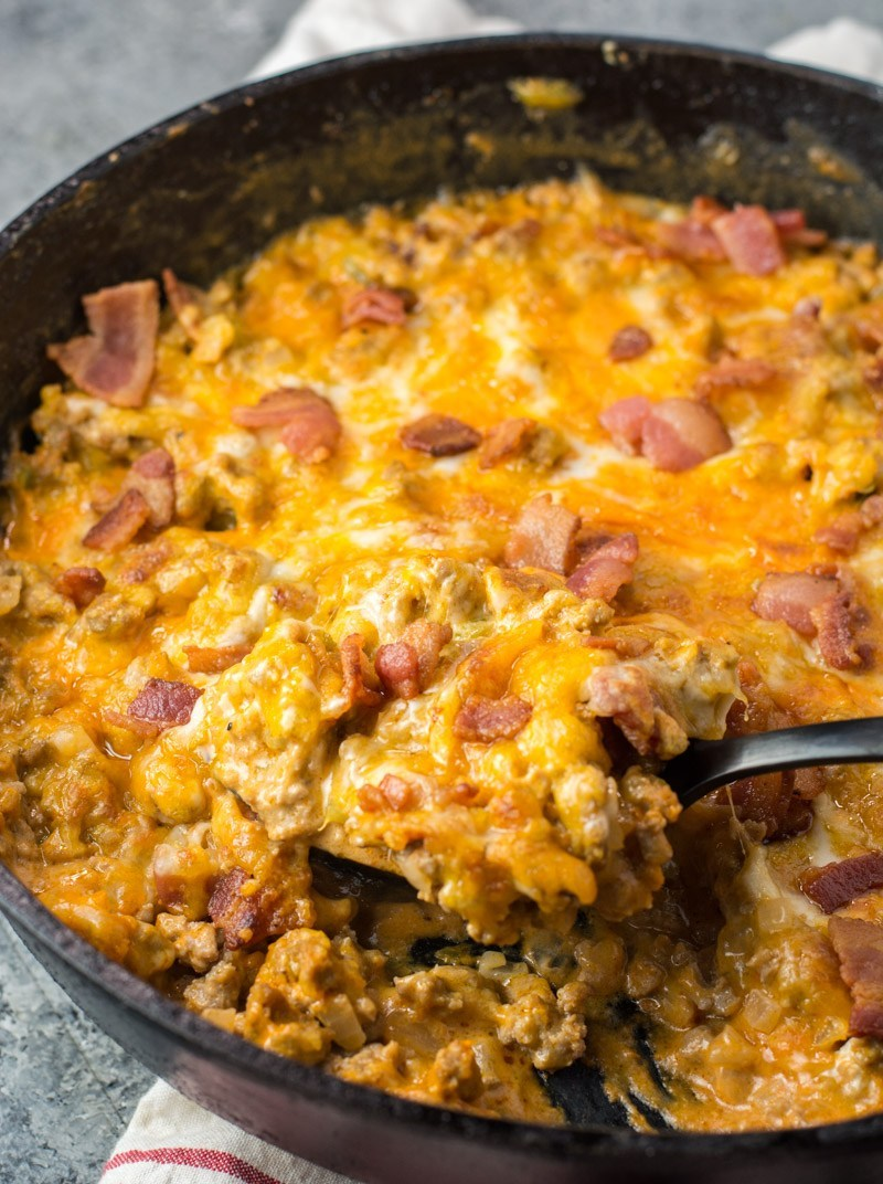 One Pan Keto Bacon Cheeseburger Skillet