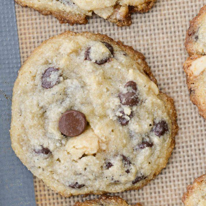 This is the perfect Keto Chocolate Chip Cookie recipe! These low carb cookies are packed with dark chocolate chips and pecans all for only about one net carb each!