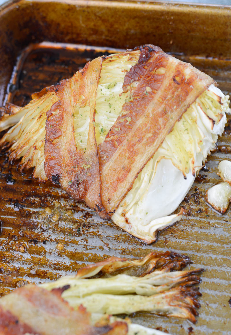 This easy Keto Bacon Wrapped Cabbage is a tasty low carb side dish that can be grilled or baked!