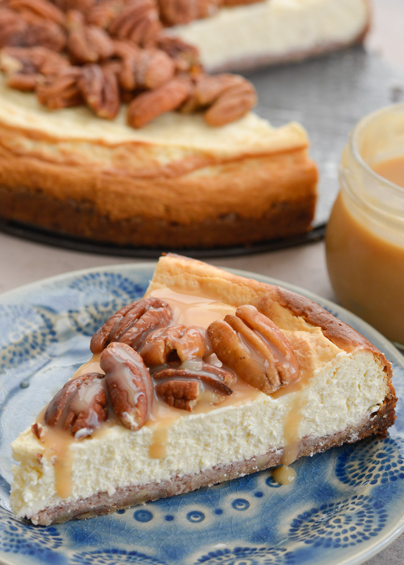 This rich Keto Butter Pecan Cheesecake is an incredibly decadent low carb dessert! With a delicious pecan crust, creamy cheesecake, keto caramel sauce and roasted pecans, you would never guess this is just 3.5 net carbs per slice!