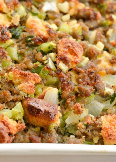 This Easy Keto Sausage Stuffing is loaded with flavor, naturally gluten free, and has about 5 net carbs per serving! This low carb side dish is perfect for all of your holiday gatherings!