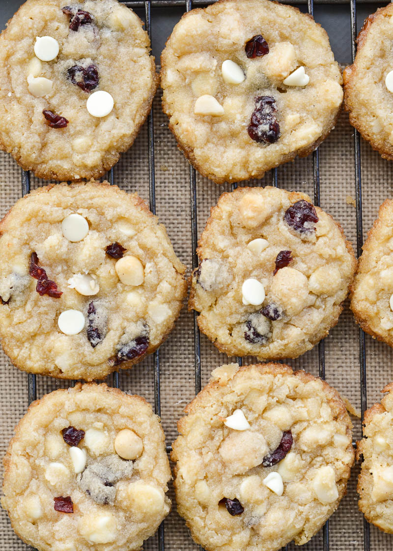 These Cranberry White Chocolate Macadamia Nut Cookies are the perfect low carb cookie! Each cookie is packed with sweet white chocolate chips, sweet dried cranberries and salty macadamia nuts, for about 4 net carbs each!