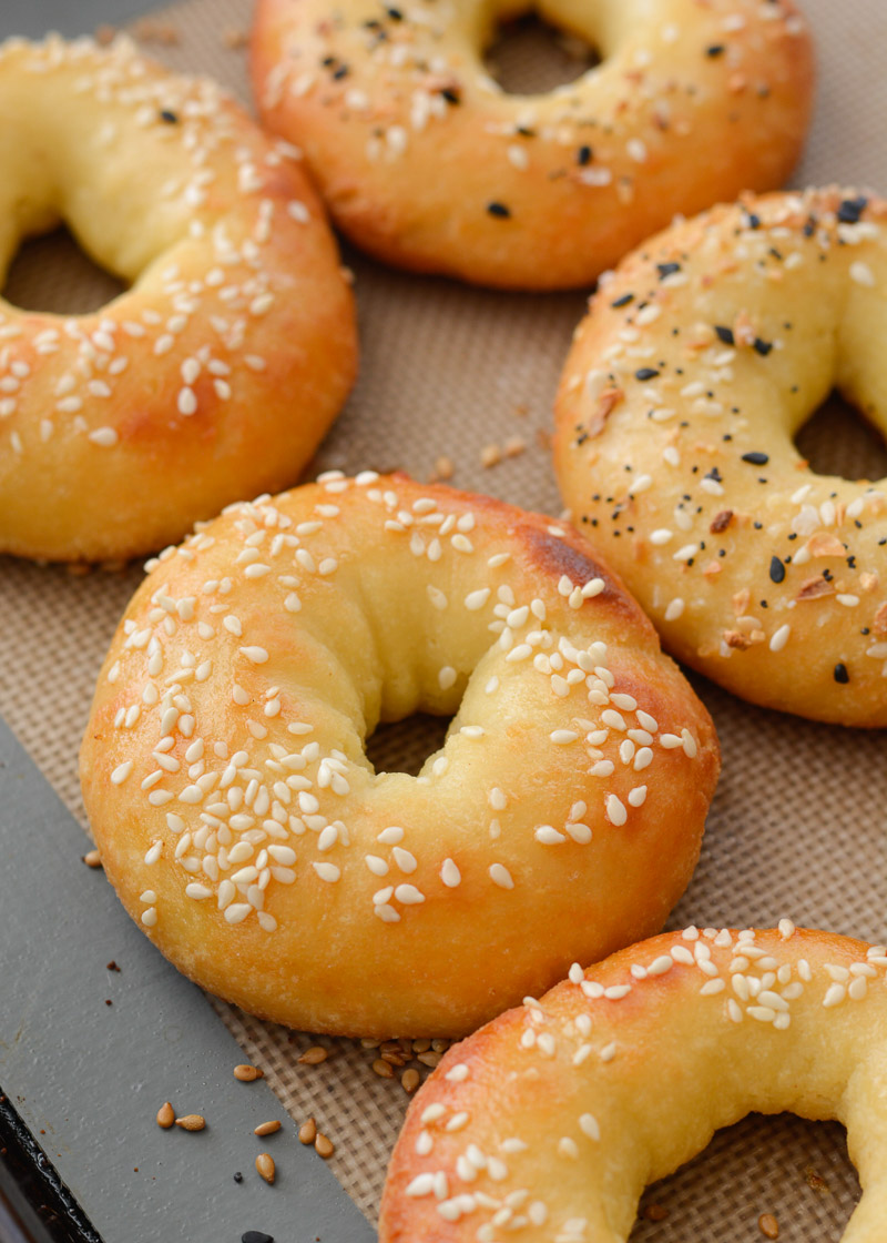 These Easy Keto Bagels make the best low carb breakfast sandwiches! At about 3 net carbs this is a gluten free, keto-friendly bagel recipe you will love!