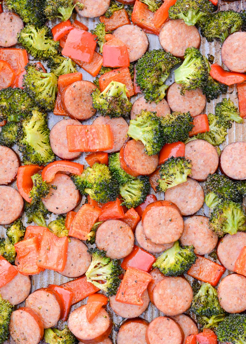 This Keto Sausage Veggie Sheet Pan Dinner uses one pan, is ready in 30 minutes and has under 7 net carbs per serving!